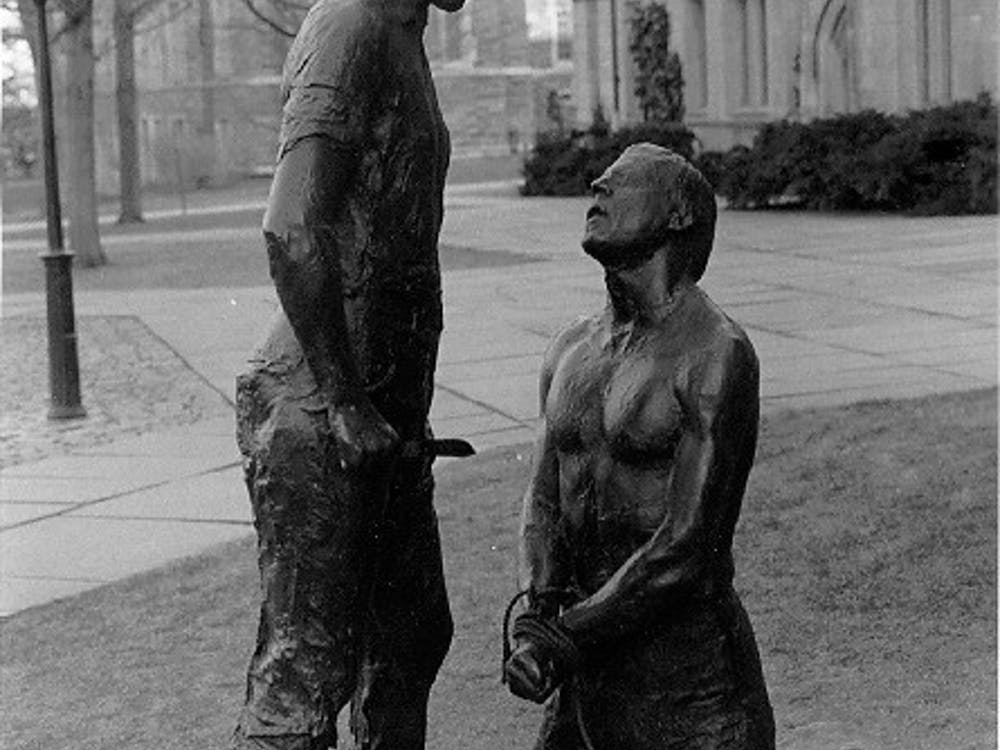 "George Segal's ""Abraham and Isaac."" Photo Courtesy of Kent State University Library"