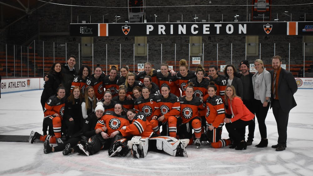 The women's hockey team after their win against Yale on Senior Day. Photo Credit: Owen Tedford / The Daily Princetonian