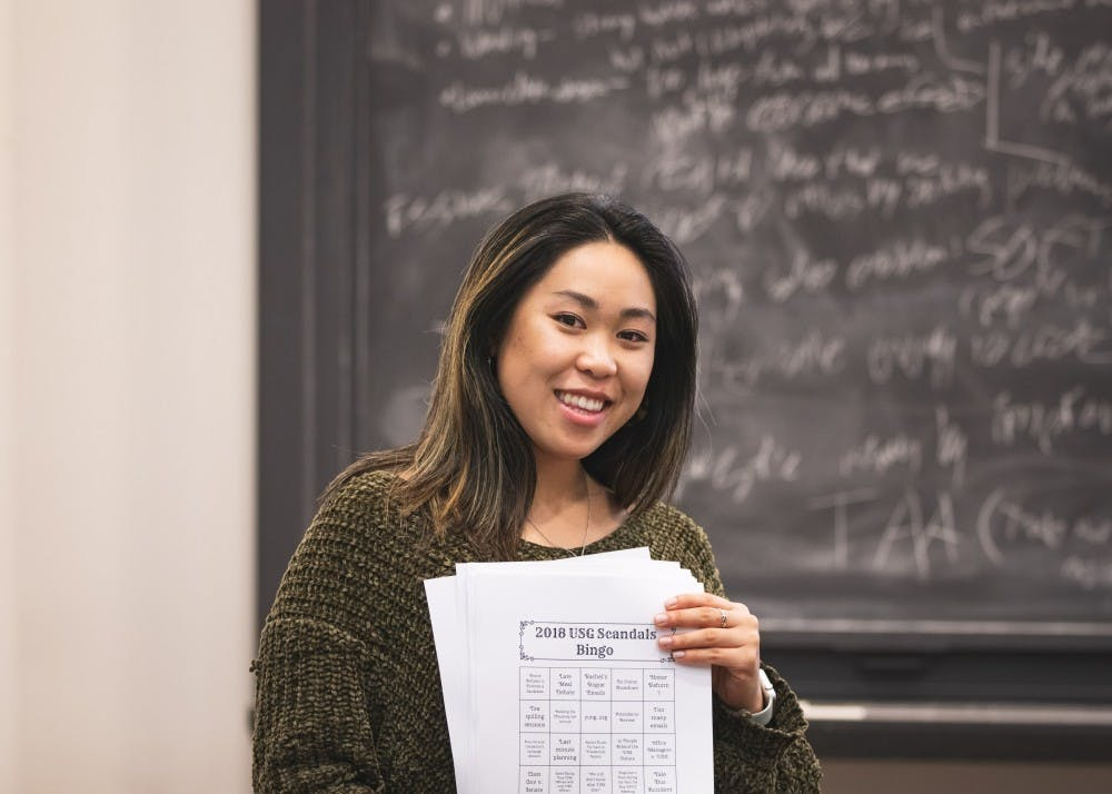 <p>USG president Rachel Yee '19 held her last meeting with the USG Senate on Sunday, Jan. 20. Photo courtesy of Brad Spicher.</p>