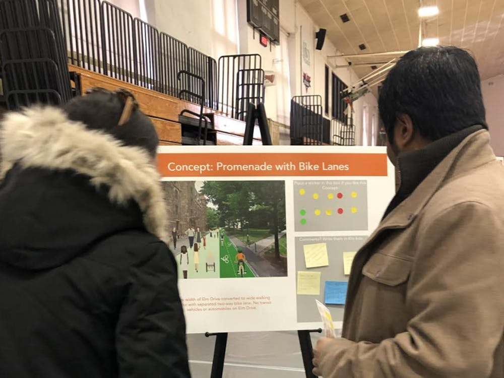 The plans for transit reform on display in Dillon Gym.  Photo Credit: Shamma Pepper Fox / The Daily Princetonian