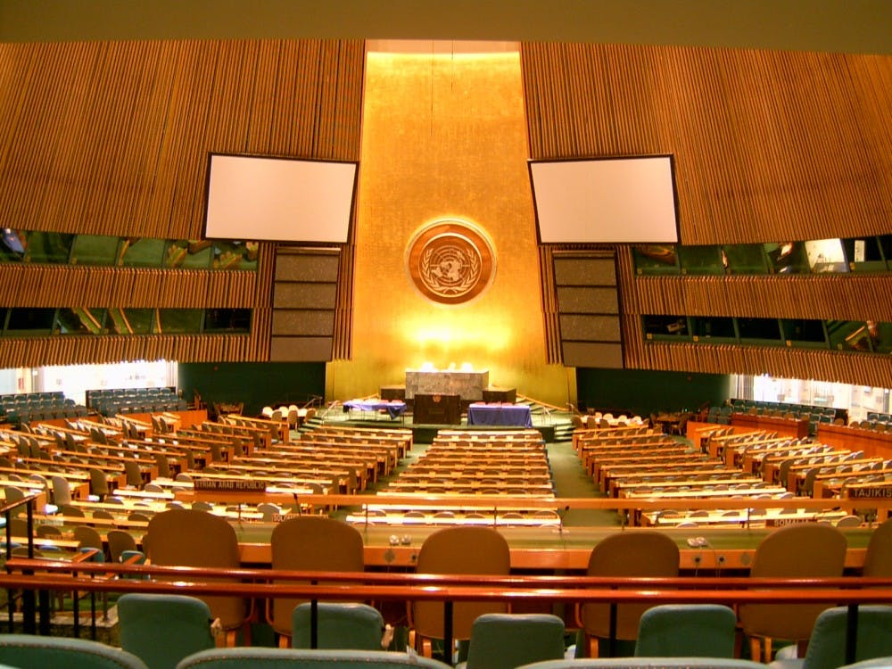 United Nations General Assembly hall in New York. Courtesy of Wikimedia Commons.