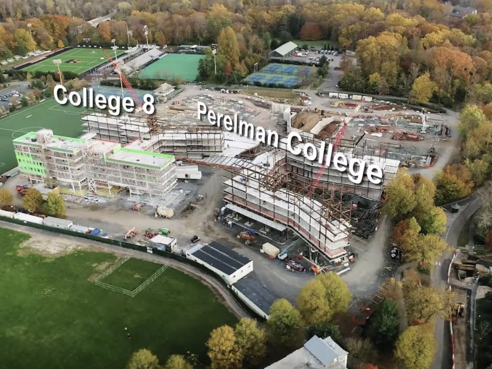 A photograph of the ongoing construction of two new residential colleges, presented during the Dec. 14 CPUC meeting by University Architect Ron McCoy.