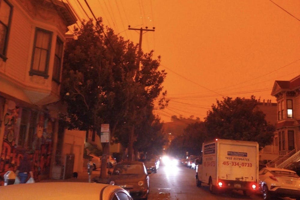 <h5>Wildfires turned the San Francisco sky orange.</h5> <h6>Courtesy of Mona Wang GS</h6>