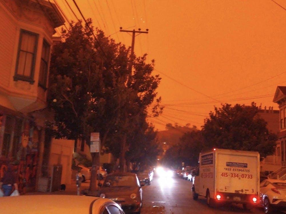 Wildfires turned the San Francisco sky orange. Courtesy of Mona Wang GS