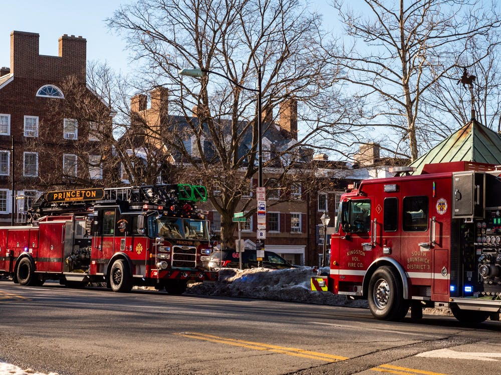 Fire trucks on Nassau Street.   Candace Do / Daily Princetonian