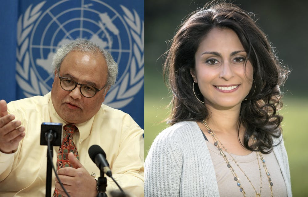<p>Eric Goosby '74 (left) and Céline Gounder '97 (right)</p> <h6>Photo credit: United States Mission Geneva / Wikimedia Commons (left) and Gounder (right)</h6>