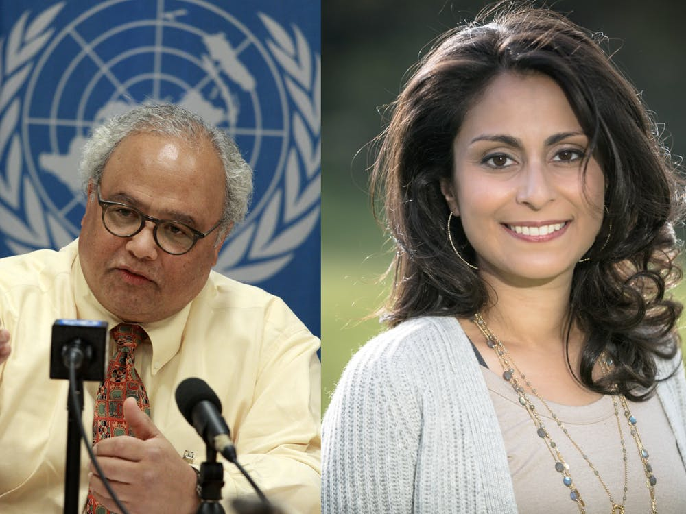 Eric Goosby '74 (left) and Céline Gounder '97 (right) Photo credit: United States Mission Geneva / Wikimedia Commons (left) and Gounder (right)