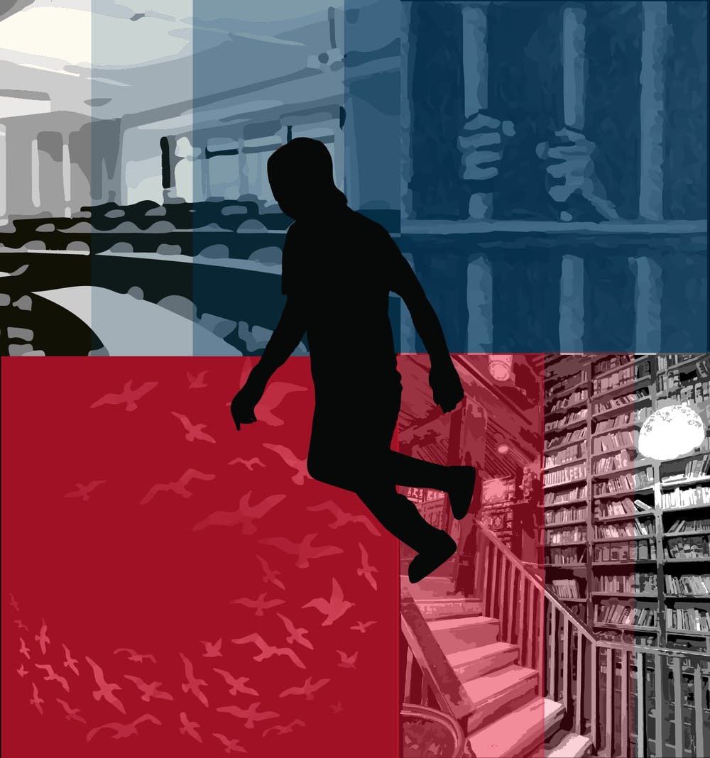"<h6>""The classroom was a jail of other people's interests,"" he says. ""The library was open, unending, free."" Graphic by Harsimran Makkad / Daily Princetonian</h6>"