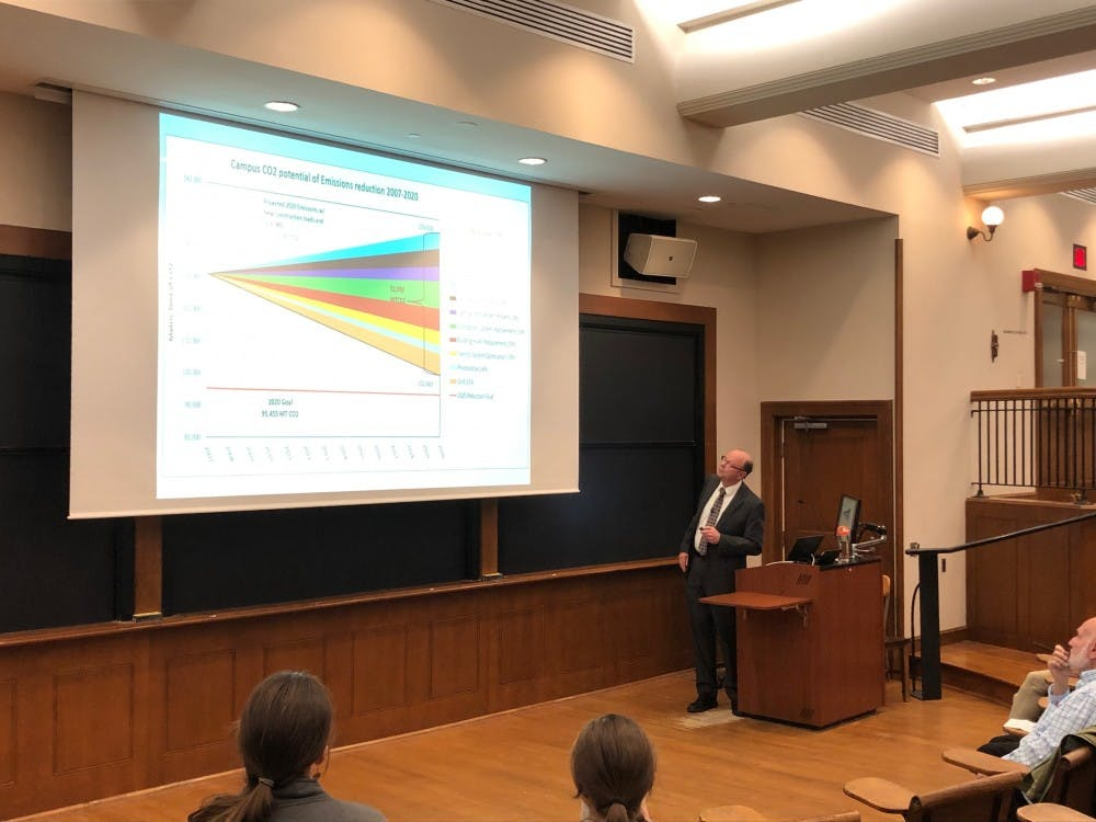 Tom Nyquist, Executive Director of Engineering and Campus Energy, presenting on the sustainability action plan.  Anne Wen / The Daily Princetonian