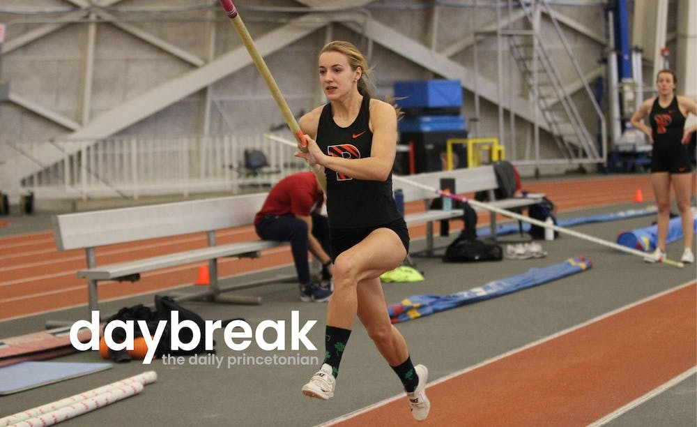 <h5>Hanne Bortslap competing in the pole vault&nbsp;</h5> <h6><strong>Beverly Schaefer / Princeton Athletics</strong></h6>