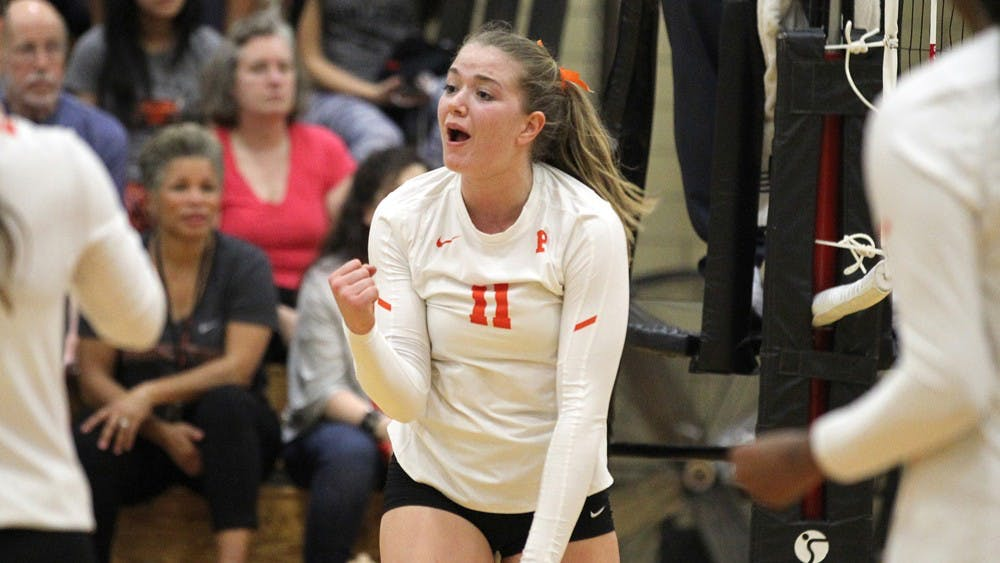 Natasha Skov had 20 kills against Brown on Friday. Photo Courtesy of Beverly Schaefer / goprincetontigers.com