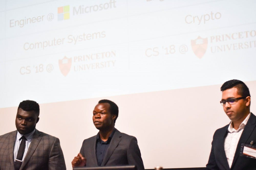 <p>Left to right: Richard Adjei '18, Felix Madutsa '18, Avthar Sewrathan '18</p>
