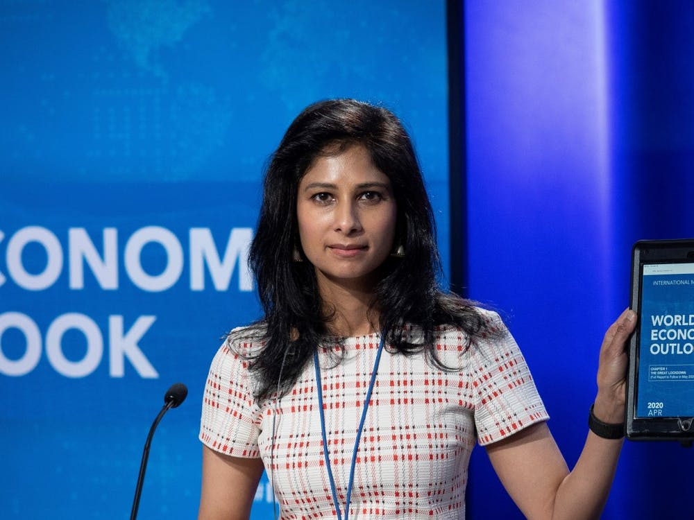 Gita Gopinath GS '01 presenting the IMF's 2020 World Economic Outlook in April 2020.  IMF Photo / Cliff Owen