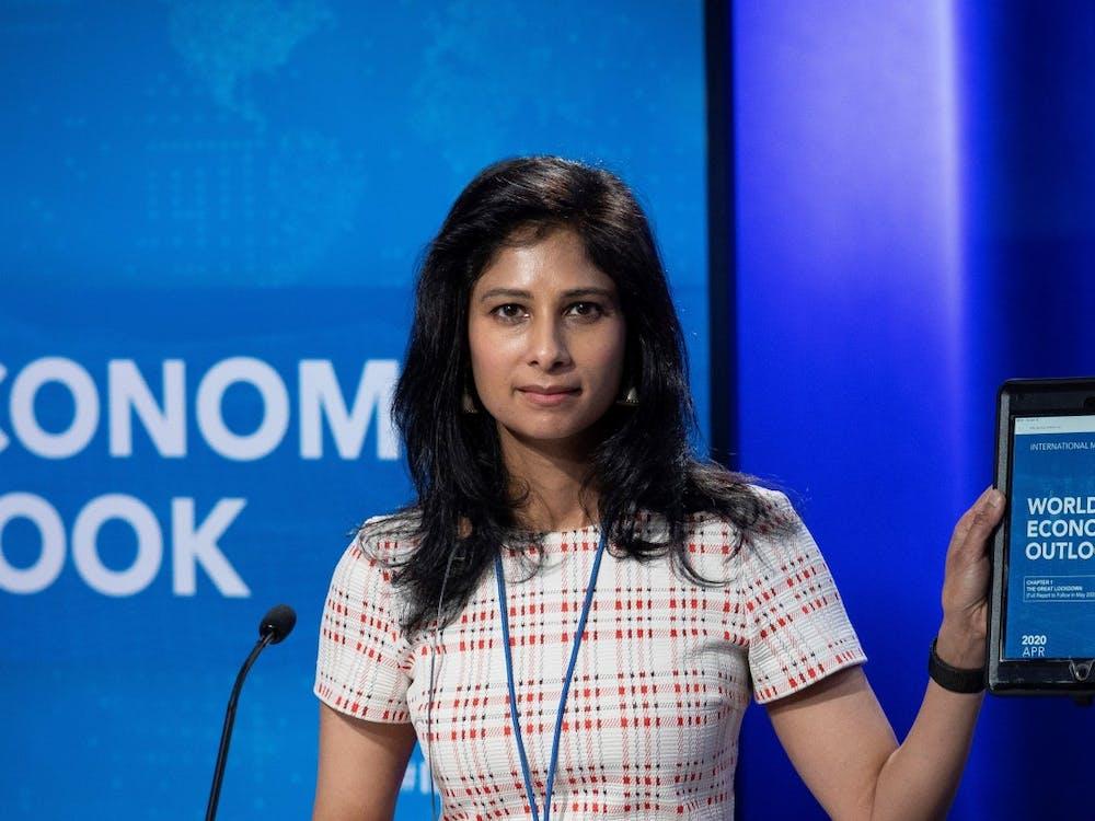 Gita Gopinath GS '01 presenting the IMF's 2020 World Economic Outlook in April 2020. IMF Photo / Cliff Owen
