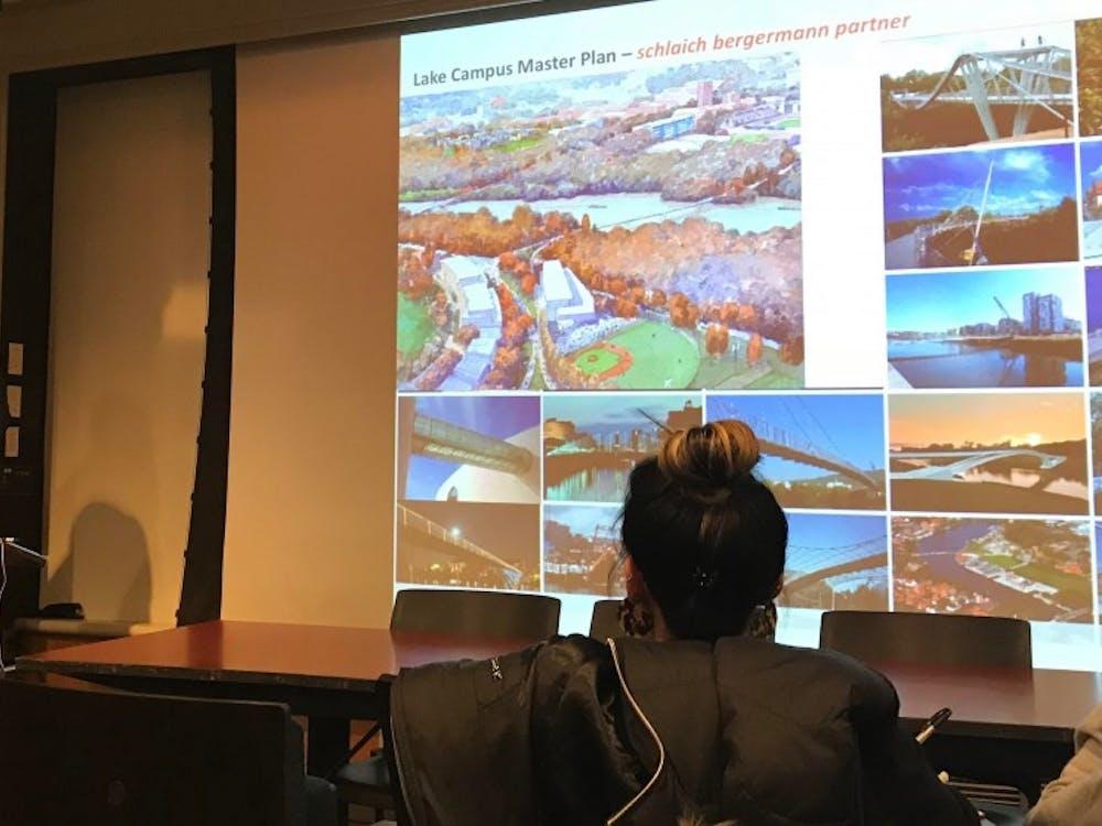 University Architect Ron McCoy describing the Lake Campus plans at Monday's CPUC meeting.