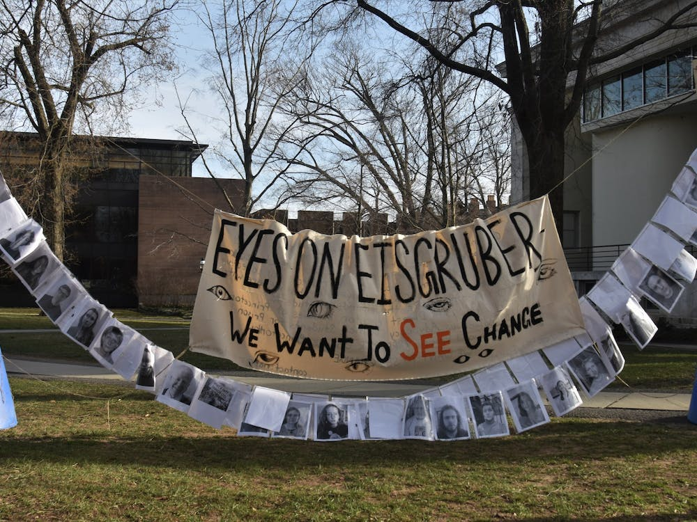 An installation by Divest Princeton and other student groups arose next to Whig Hall on March 21 as CPUC discussed divestment from fossil fuels in a general assembly.  Mark Dodici / The Daily Princetonian