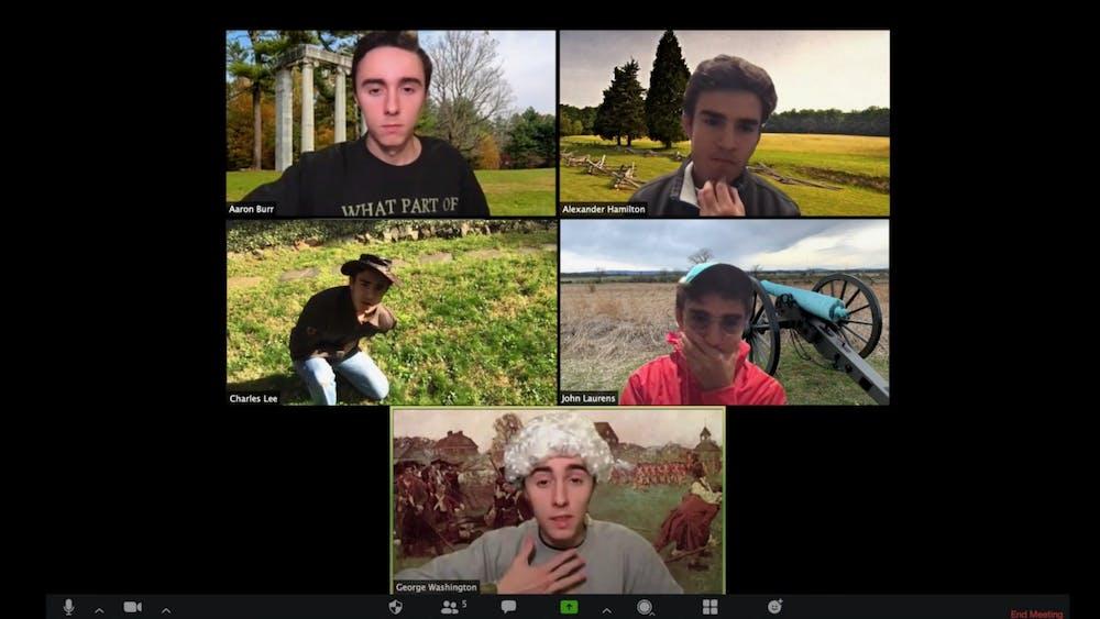 Brad Rindos '23 (top left, bottom) and Emilio Cano Renteria '23 (top right, center left, center right) in their virtual rendition of Hamilton's 'Meet me Inside'. Courtesy of Brad Rindos.