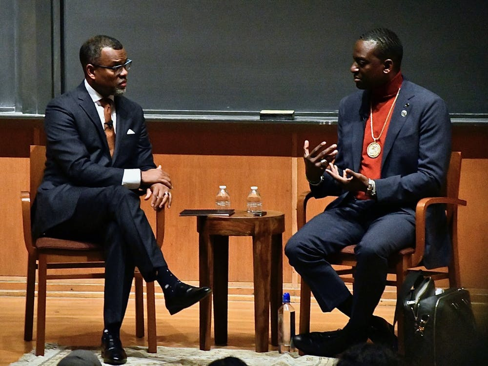 "Professor Eddie Glaude (left) and Yusef Salaam, a member of the Exonerated ""Central Park Five,"" in conversation. Photo Credit: Jon Ort / The Daily Princetonian"