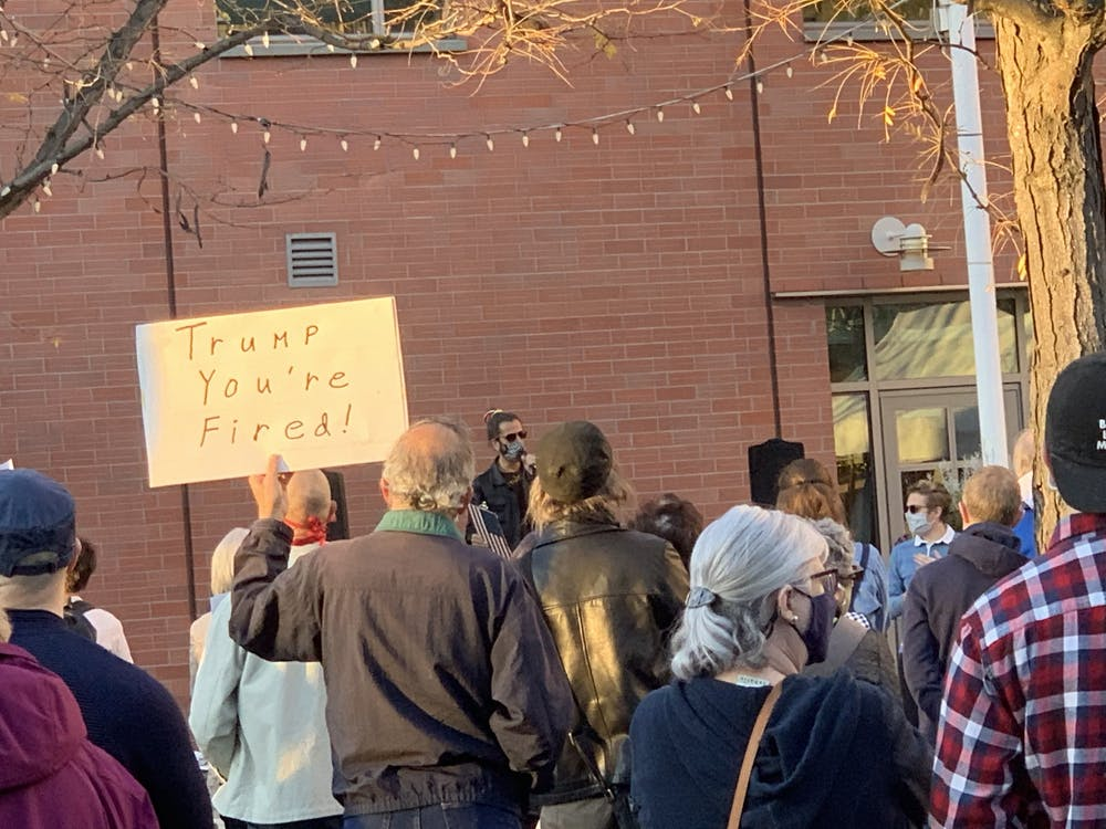 <h5>Protesters in Hinds Plaza.</h5> <h6>Elizabeth Parker / The Daily Princetonian</h6>