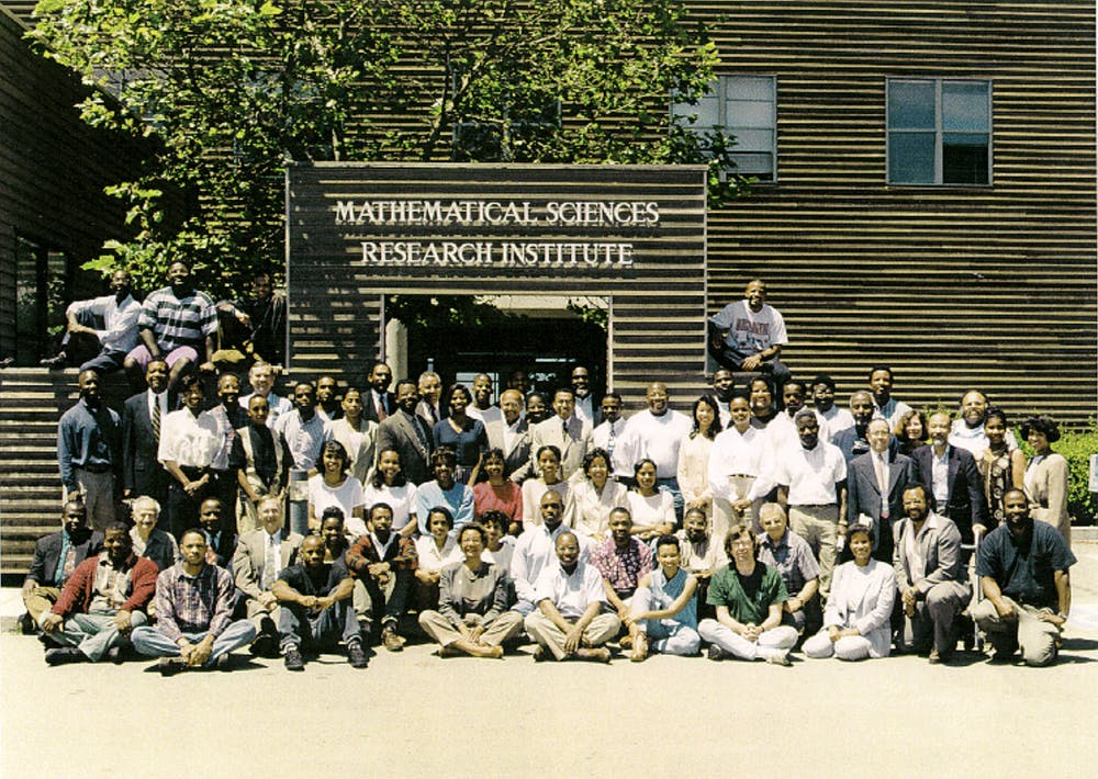 <h6>First annual CAARMS conference, held at the MSRI institute Berkley, California, 1995.</h6> <h6>Courtesy of Mathematicians of the African Diaspora</h6>