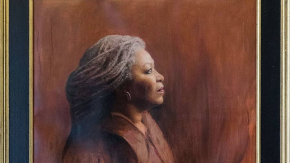 A portrait of Toni Morrison, commissioned several year ago, is displayed inside Morrison Hall. Photo Courtesy of the Office of Communications
