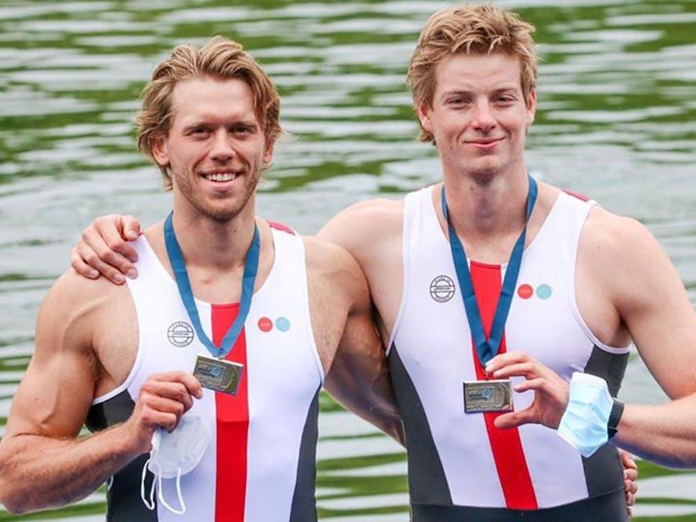 Fred Vystavel '16 (left) and his partner Joachim Sutton Photo via goprincetontigers.com