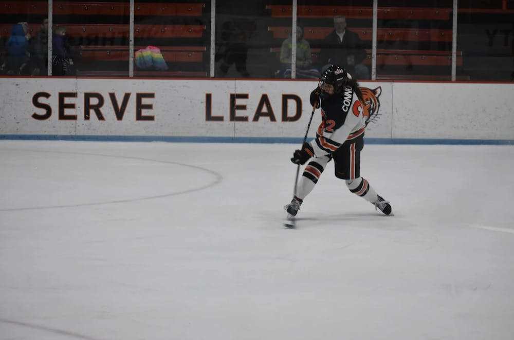 <p>&nbsp;Maggie Connors '22 winds up to shoot. Photo Credit: Owen Tedford / Daily Princetonian&nbsp;</p>