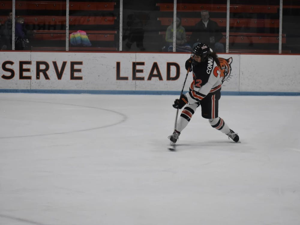 Maggie Connors '22 winds up to shoot. Photo Credit: Owen Tedford / Daily Princetonian