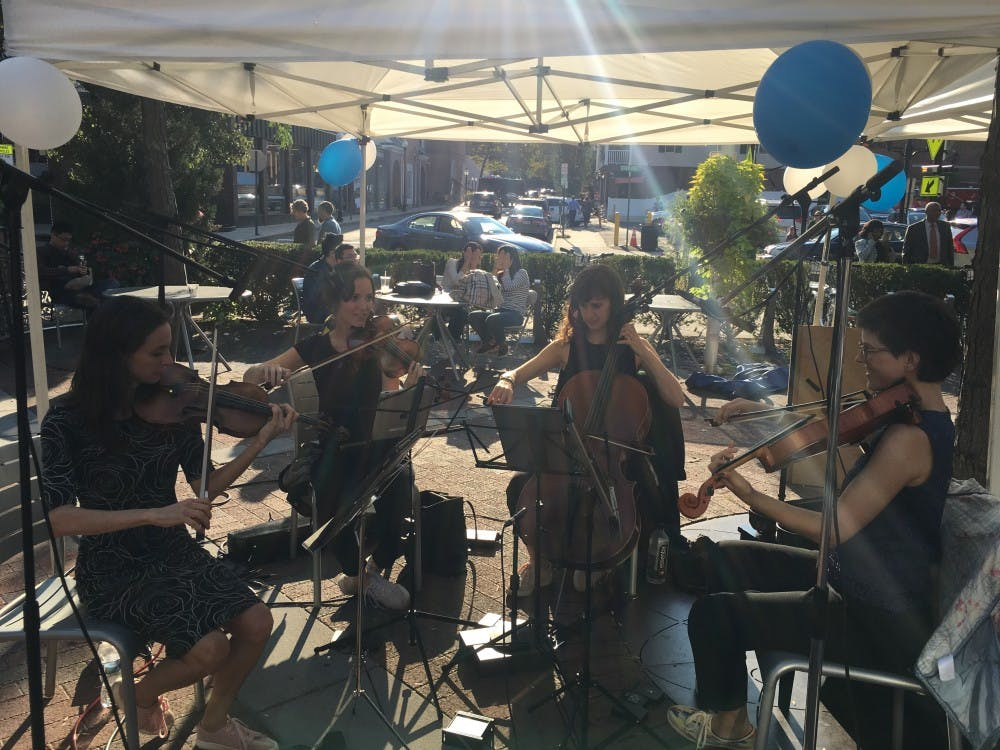 The Desdemona Quartet practices before they perform the last act of the Unruly Sounds Music Festival.  Photo courtesy of Isabel Ting.