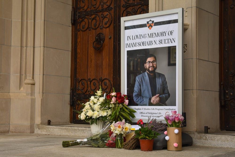 <h5>A small memorial for Imam Sohaib Sultan in front of the University Chapel.</h5> <h6>Mark Dodici / The Daily Princetonian</h6>