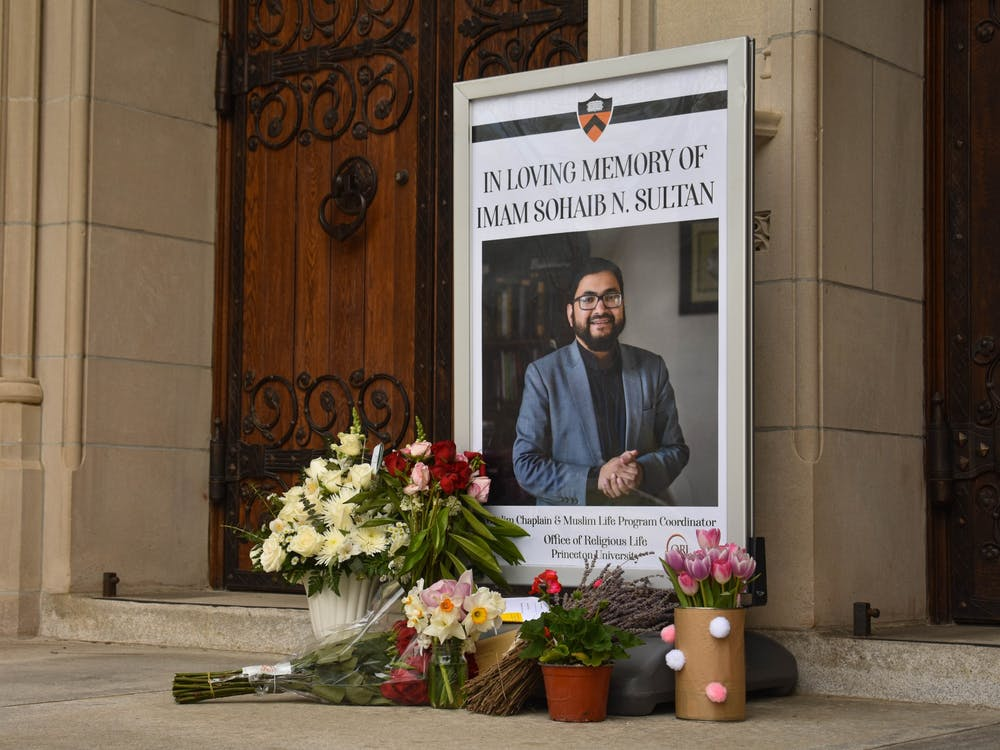 A small memorial for Imam Sohaib Sultan in front of the University Chapel. Mark Dodici / The Daily Princetonian