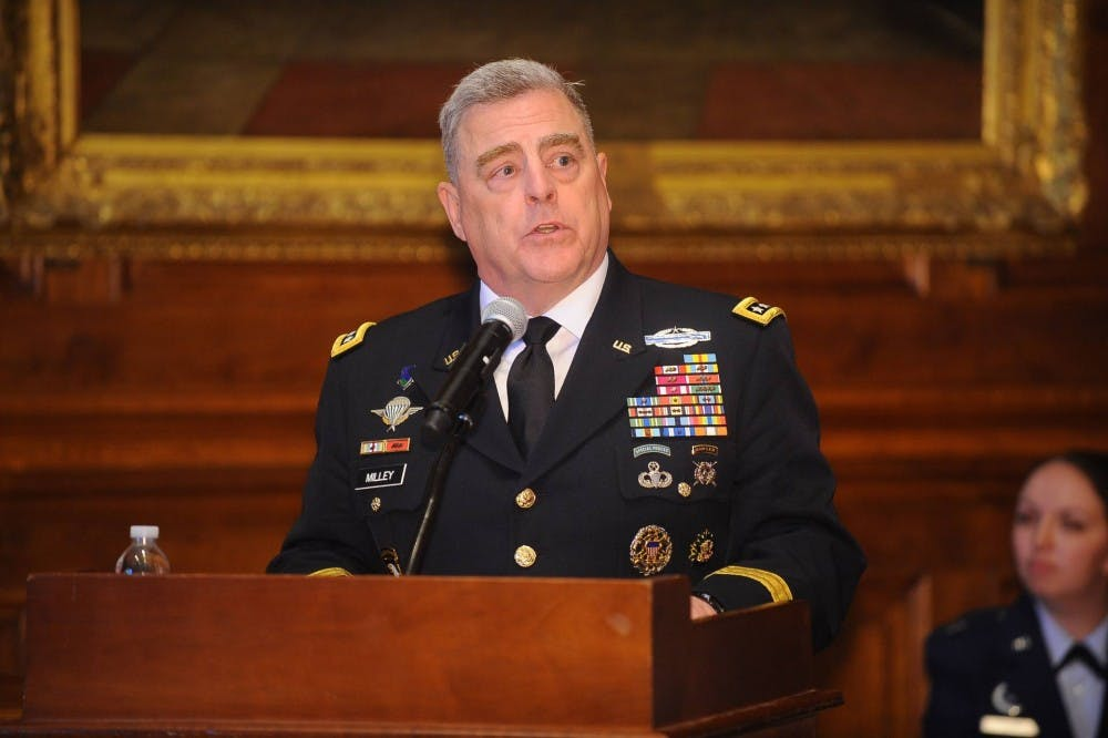 "<h6>General Mark Milley '80 speaks at the 2019 commissioning ceremony for graduating Princeton ROTC Cadets. Milley is an alumnus of the program.</h6> <h6>Courtesy of the <a href=""https://www.princeton.edu/news/2019/06/05/after-princeton-graduation-rotc-students-are-commissioned-us-army-air-force-and"" target=""_self"">Office of Communications</a></h6>"