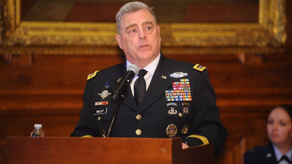 General Mark Milley '80 speaks at the 2019 commissioning ceremony for graduating Princeton ROTC Cadets. Milley is an alumnus of the program. Courtesy of the Office of Communications