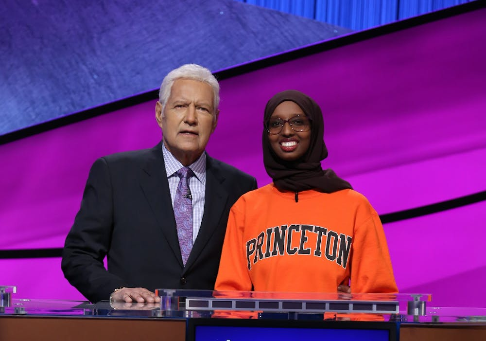 <p>Sirad Hassan '20 with Jeopardy! host Alex Trebek.</p> <h6>Courtesy of Sirad Hassan</h6>