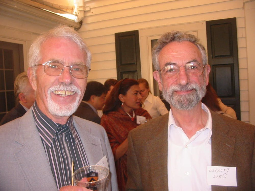 Pierre Adrien Piroué, on the left, with Elliot H. Lieb, Eugene Higgins Professor of Physics, Emeritus, at Department of Physics picnic. Photo Courtesy of Kirk T. McDonald