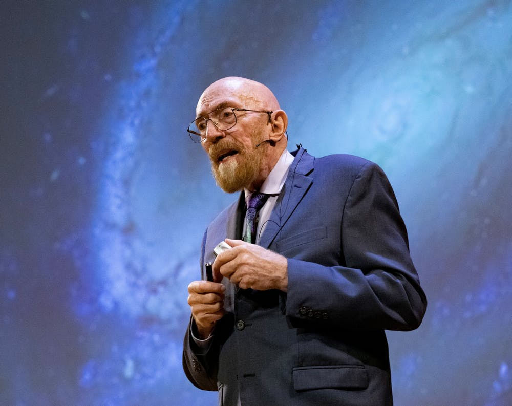 <p>Kip Thorne GS '65 speaks at Alumni Day.</p> <h6>Photo courtesy of the Office of Communications.</h6>
