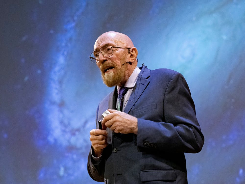 Kip Thorne GS '65 speaks at Alumni Day. Photo courtesy of the Office of Communications.