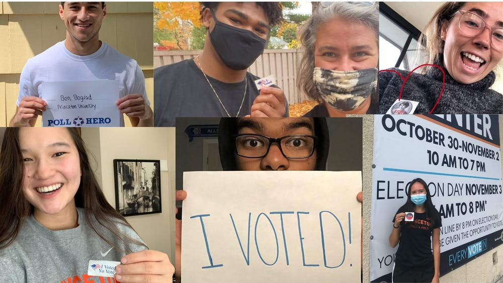 Caption: A collage of six of the athletes that the 'Prince' spoke showing off their voting stickers or voting projects.  Credit: Alissa Selover, Head Sports Editor