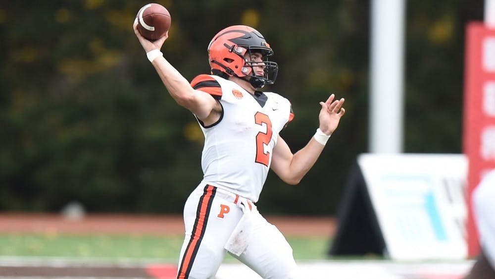 Cole Smith had 476 passing yards against Brown on Saturday, the second-most in a single game in Princeton football history. Photo by Greg Fiume / GoPrincetonTigers.com