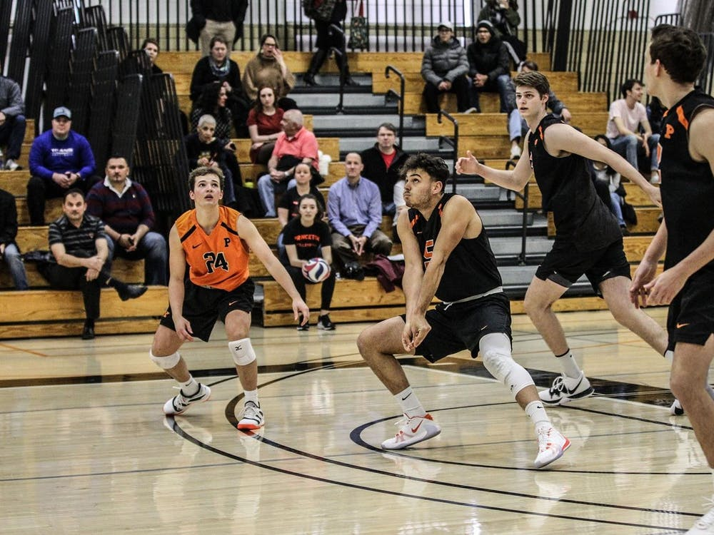 Freshman outside hitter Alexander Mrkalj gears up for a pass. Photo credit: Beverly Schaefer, GoPrincetonTigers.