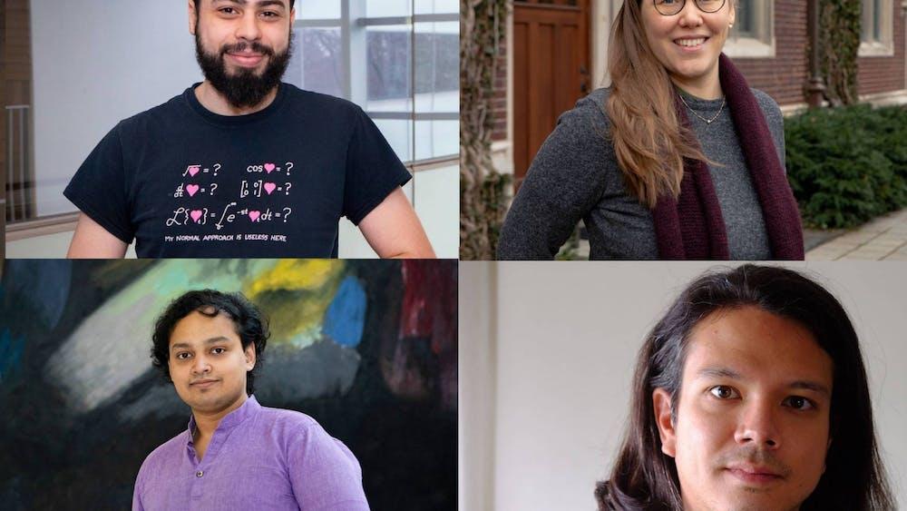 Jacobus Fellowship recipients Talmo Pereira (top left), Karan Singh (bottom left), Raissa von Doetichem de Rande (top right), and Vincius de Aguiar Furuie (bottom right). Photo Credit: Denise Applewhite / Office of Communications