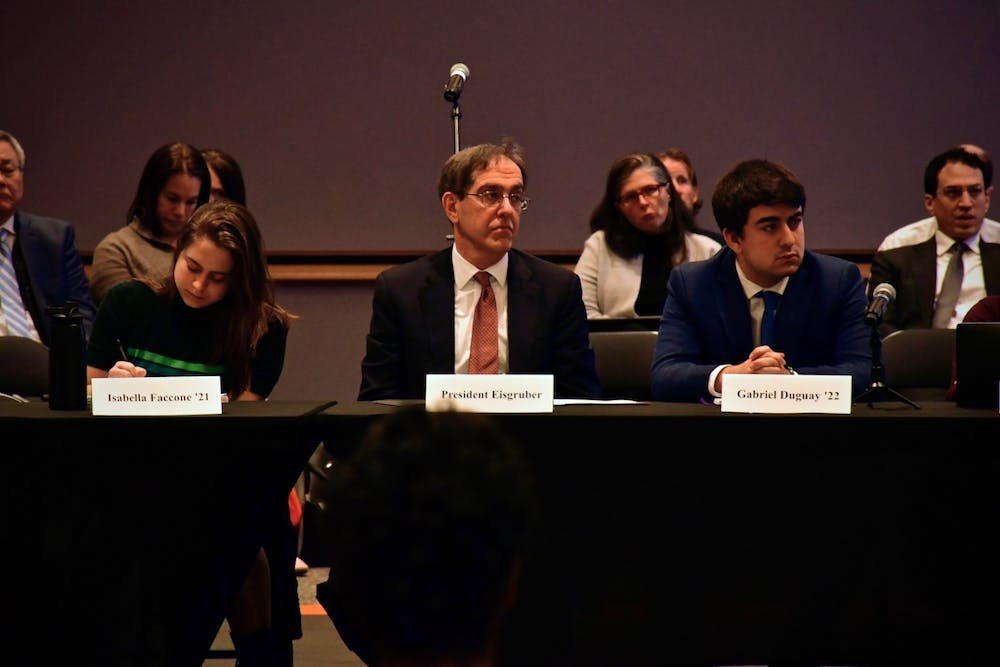 <p>President Christopher L. Eisgruber '83 at the CPUC meeting.</p> <h6>Photo Credit: Jon Ort / The Daily Princetonian</h6>