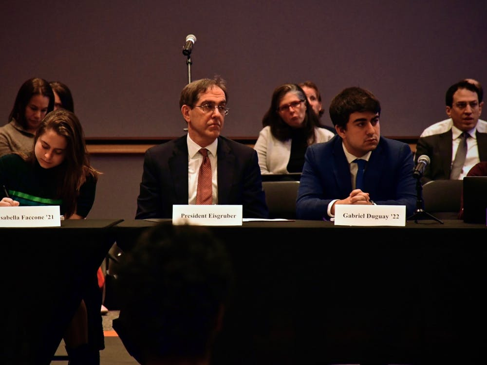 President Christopher L. Eisgruber '83 at the CPUC meeting. Photo Credit: Jon Ort / The Daily Princetonian