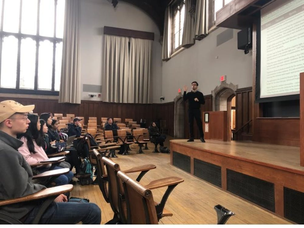 New York Law School Professor Ari Waldman lectures before a group of COS126 students. Photo Credit: Jeremie Lumbroso