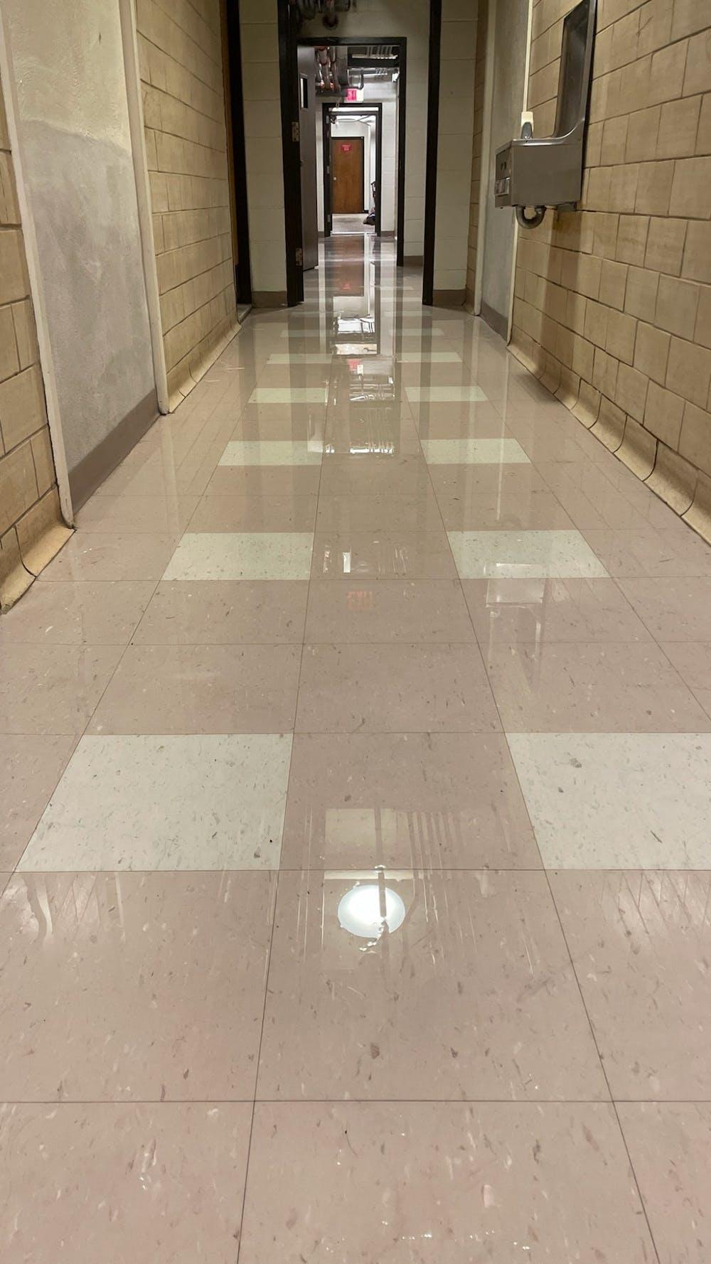 <h4>Flooding in Joline Hall.</h4> <h5>Courtesy of Alex Moosbrugger</h5>
