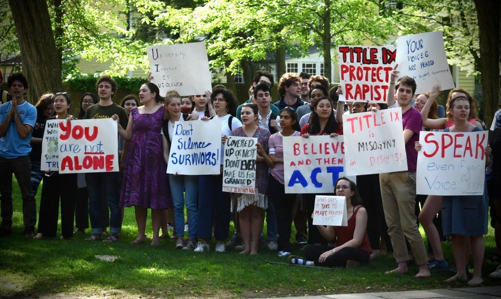<h6>Students protest against the University's enforcement of Title IX regulations.</h6> <h6>Mark Dodici / The Daily Princetonian</h6>