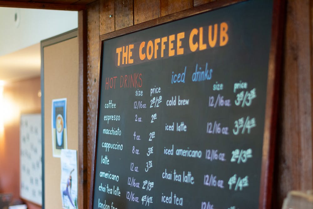 <h5>The menu at Coffee Club located in Campus Club.</h5> <h6>Julian Gottfried / The Daily Princetonian</h6>