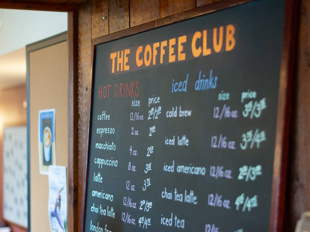 The menu at Coffee Club located in Campus Club. Julian Gottfried / The Daily Princetonian