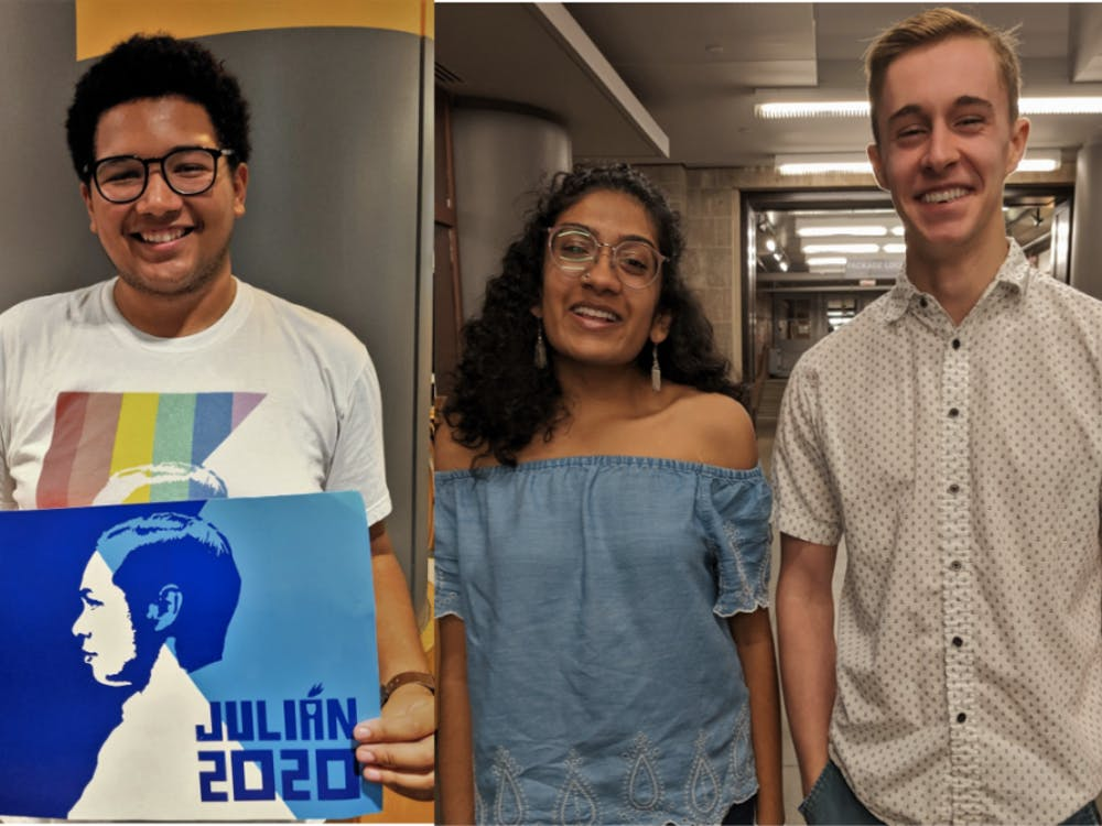 Josiah Gouker '22 (left) is involved with Tigers for Julian, and Harshini Abbaraju '22 and Eric Periman '22 (right) are involved with Princeton for Warren.