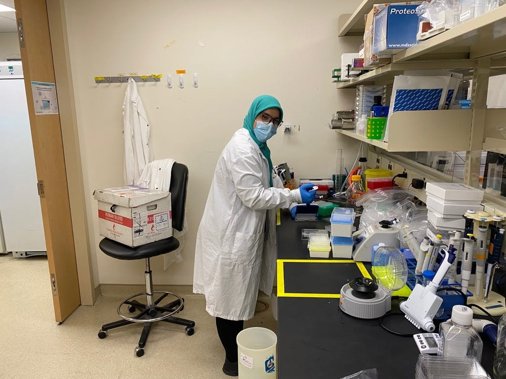 Mahya Fazel '25 working as a student research assistant in the Gingras Laboratory at Mount Sinai Hospital. Courtesy of Mahya Faisel '25